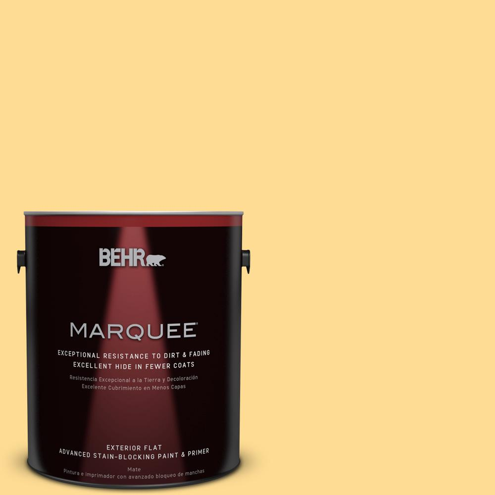 BEHR MARQUEE 1-gal. #320B-4 Lemon Pound Cake Flat Exterior Paint