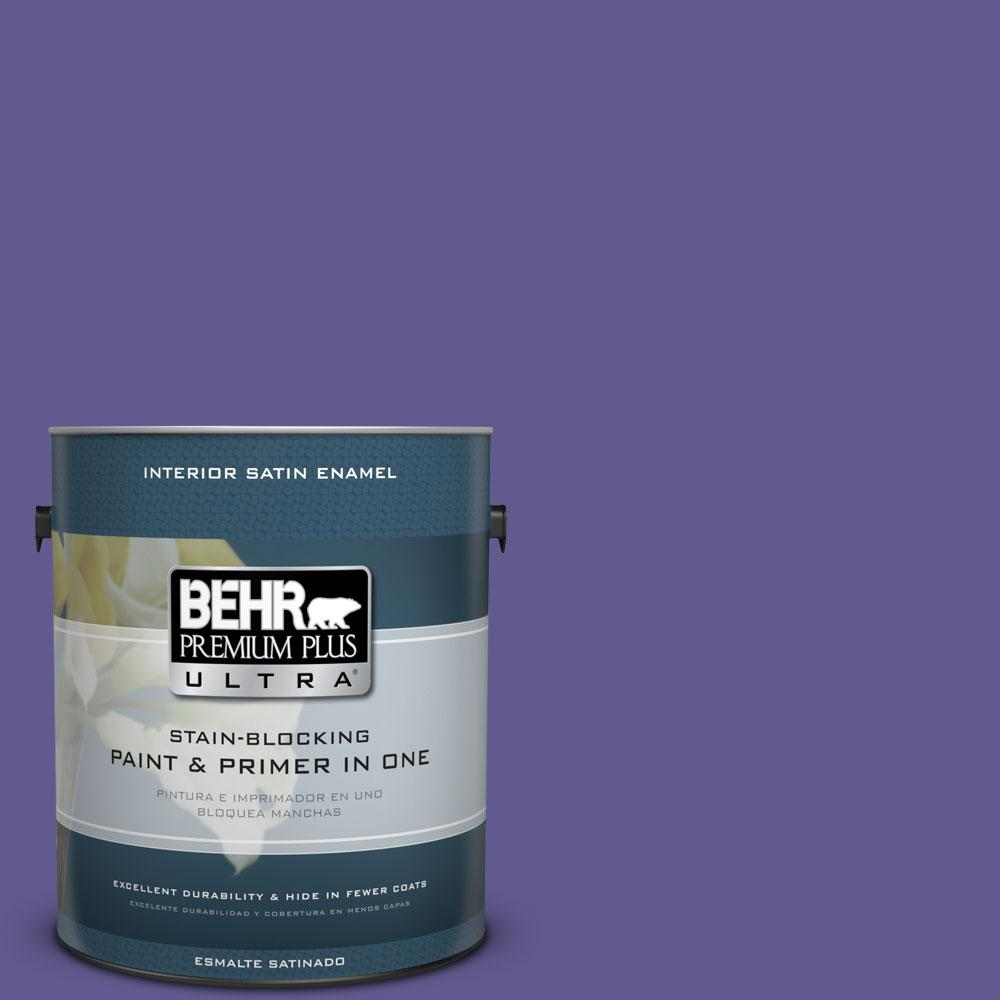 1 gal. #S-G-630 Majestic Purple Satin Enamel Interior Paint and Primer