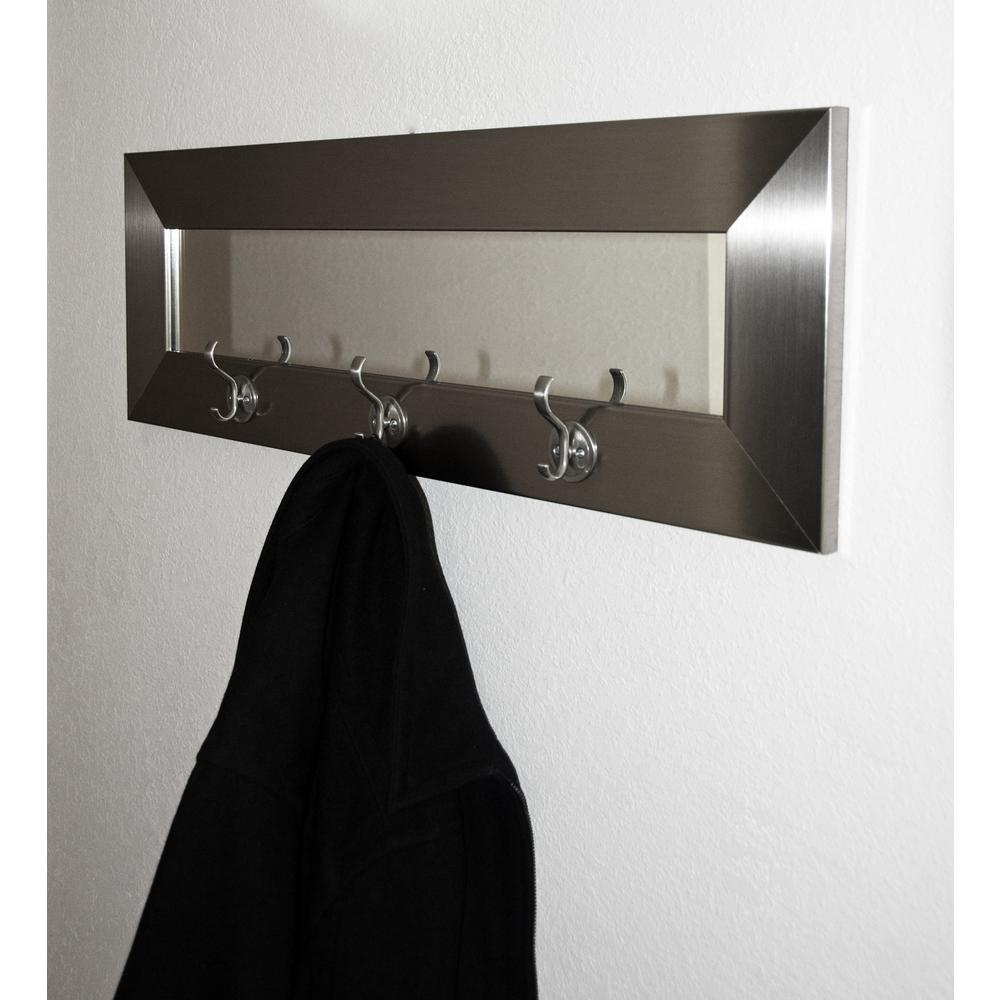 brandtworks last look modern silver wall mirror with hooks bm001hk the home depot. Black Bedroom Furniture Sets. Home Design Ideas