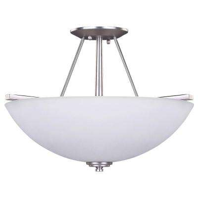 New Yorker 3-Light Brushed Pewter Semi-Flush Mount Light