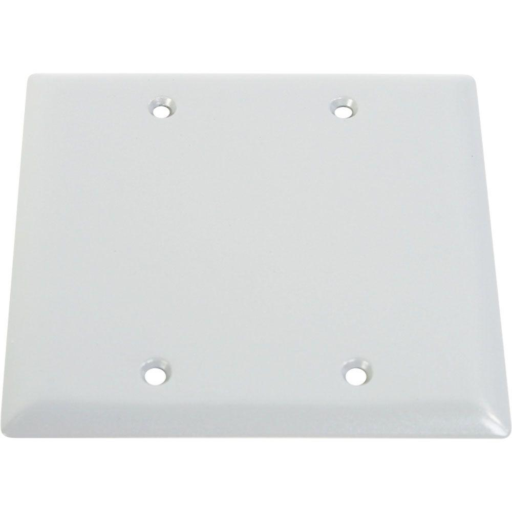 2 Gang Weatherproof Electrical Box Blank Cover - White