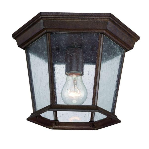 Dover Collection 1-Light Burled Walnut Outdoor Ceiling Fixture