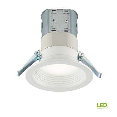 Easy-Up 4 in. White Baffle Integrated LED Recessed Kit with Selectable CCT (2700K-5000K), (No Can Needed)