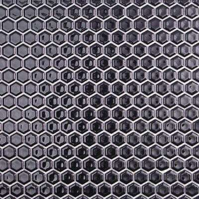 Bliss Hexagon Black 12 in. x 12 in. x 10 mm Polished Ceramic Mosaic Tile