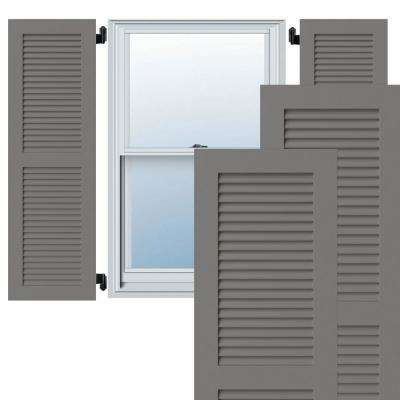 15 in. x 63 in. Exterior Composite Louvered Shutters (Per Pair), Primed