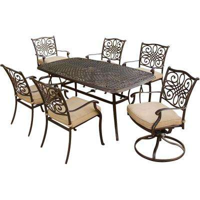 7-Piece Aluminum Rectangluar Outdoor Dining Set with 2 Swivel Chairs, Protective Cover and Natural Oat Cushions