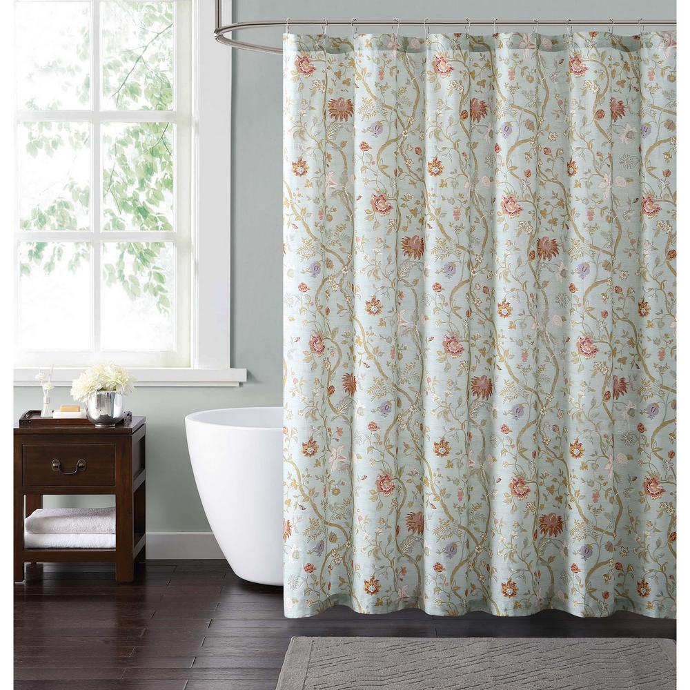 Blue And Blush Shower Curtain