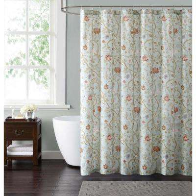Bedford 72 in. Blue and Blush Shower Curtain