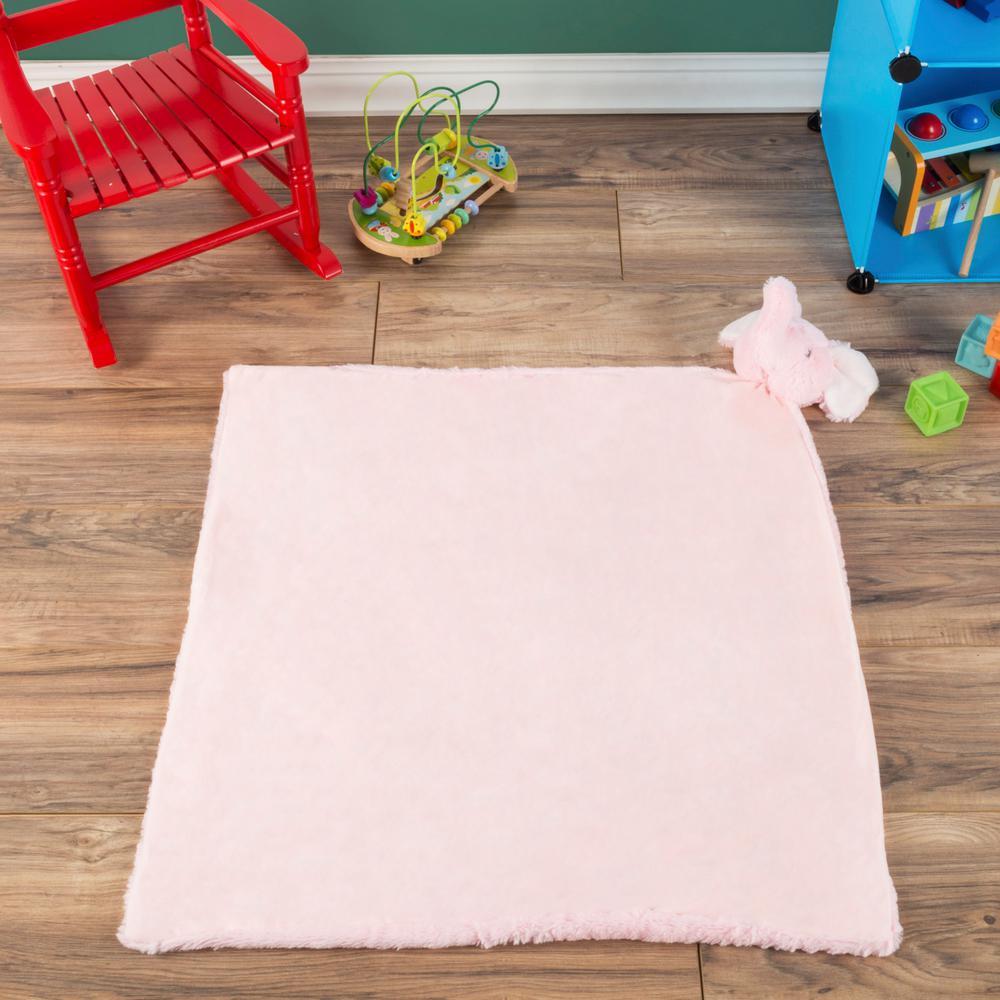 Plush Elephant Buddy Pink Baby Blanket