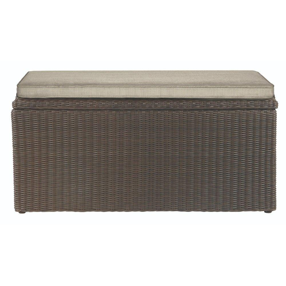 Naples 93.78 Gal. Brown All-Weather Wicker Outdoor Storage Deck Box with