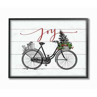 """16 in. x 20 in. """"White Holiday Joy Bicycle with Tree and Gifts"""" by Artist Lettered and Lined Framed Wall Art"""