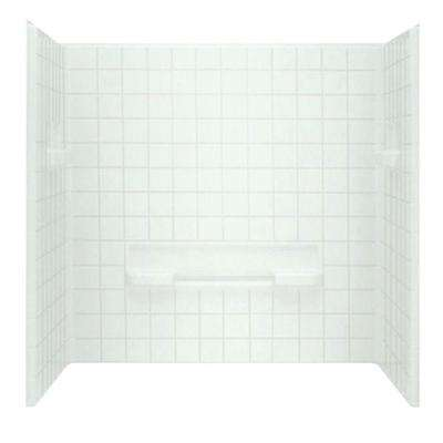 Advantage 35-1/4 in. x 60 in. x 59-1/4 in. 3-Piece Direc-to-Stud Shower Wall Set in White
