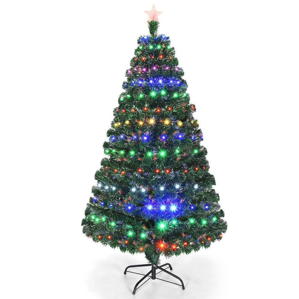 Costway 6 ft. Pre-Lit Artificial Christmas Tree Fiber ...