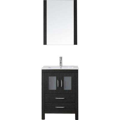 Dior 24 in. W Bath Vanity in Zebra Gray with Ceramic Vanity Top in White with Square Basin and Mirror and Faucet