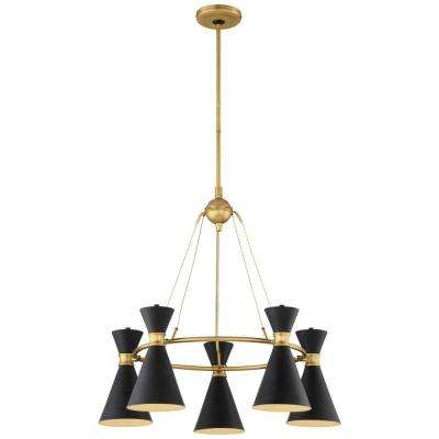 Conic 5-Light Honey Gold Pendant with Matte Black Shade