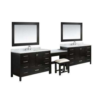 Two London 54 in. W x 22 in. D Vanity in Espresso with Marble Vanity Top in Carrara White with White Basins and Mirror
