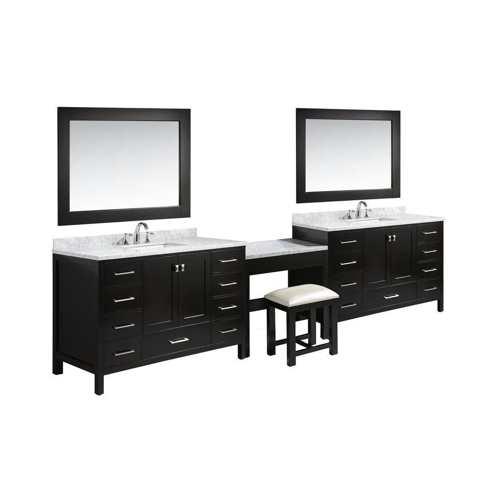 Design Element London Vanity Espresso Marble Vanity Top White Basins Mirror