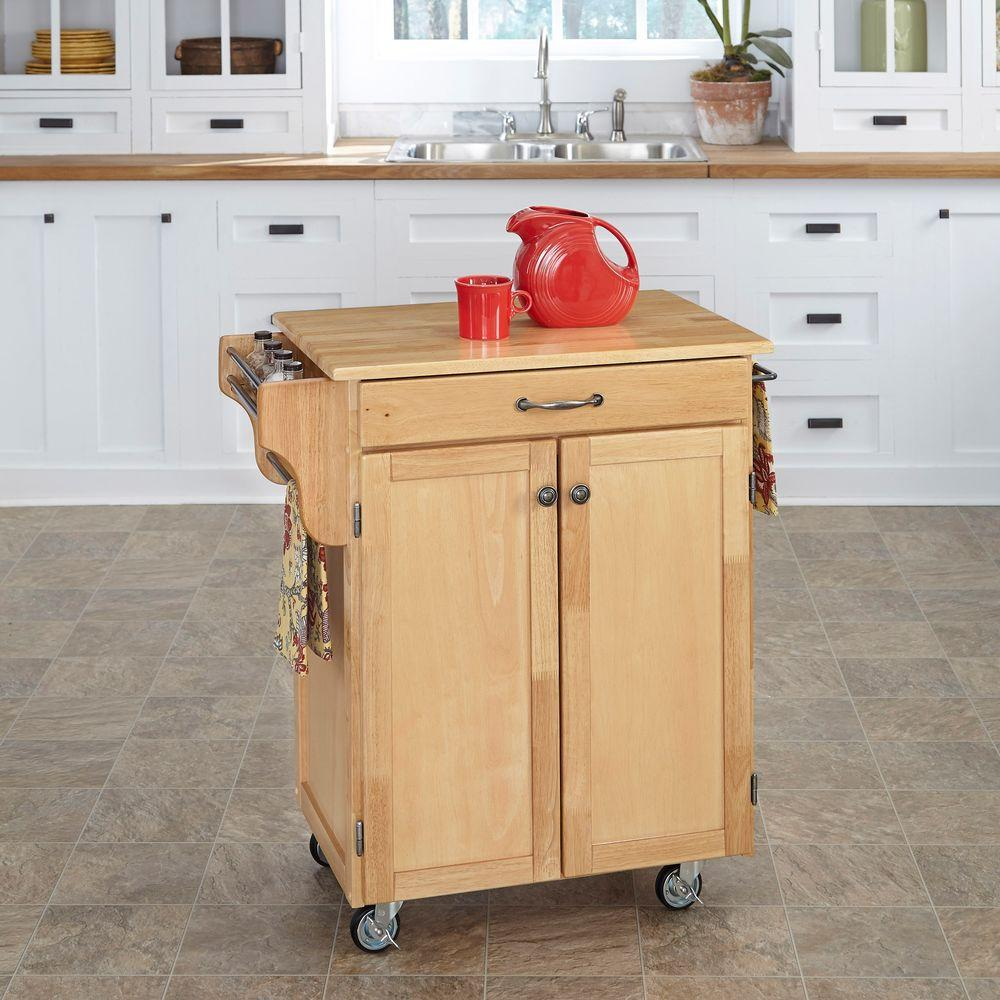 Home Styles Create A Cart Natural Kitchen With Wood Top 9001 0011 The Depot