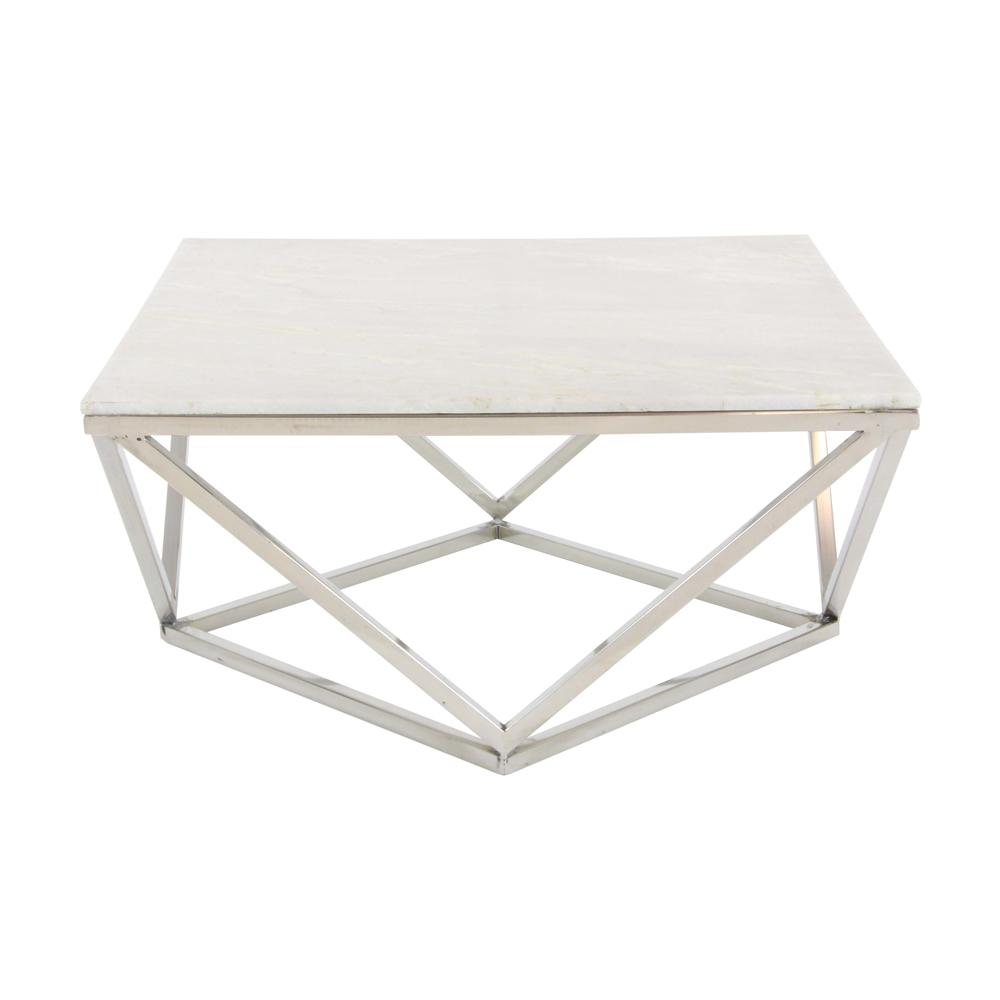 Litton Lane Modern Marble Top Coffee Table 57343 The Home Depot