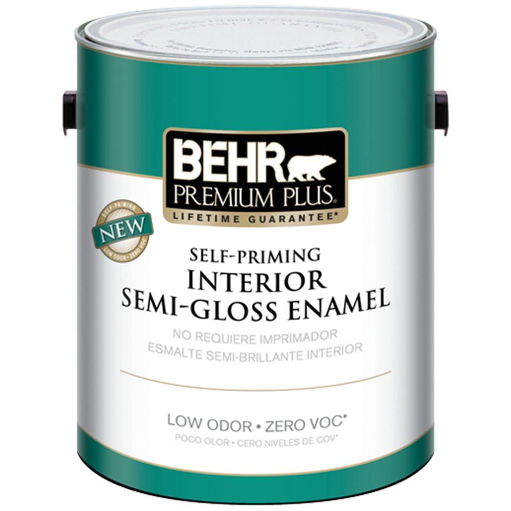 BEHR Premium Plus 1-gal. Swiss Coffee Semi-Gloss Enamel