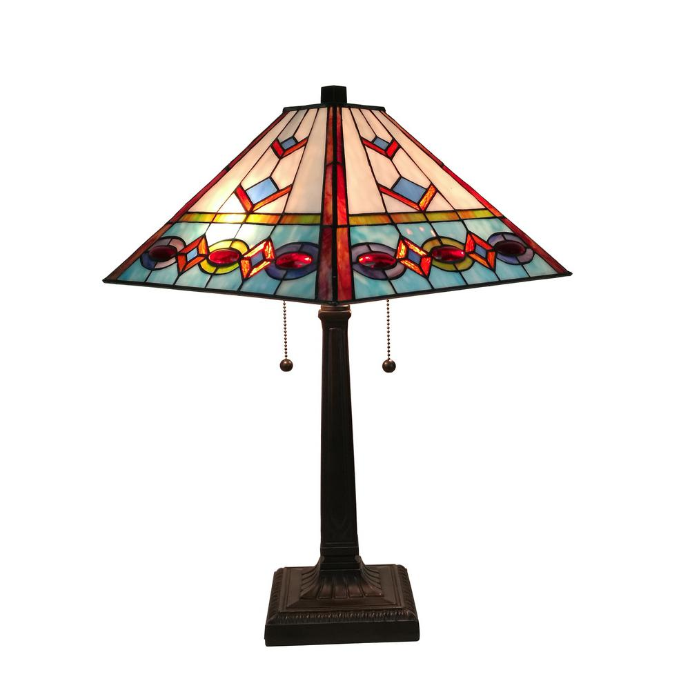Amora Lighting Tiffany Style 22 in. Tall Multi-Color Mission Table Lamp