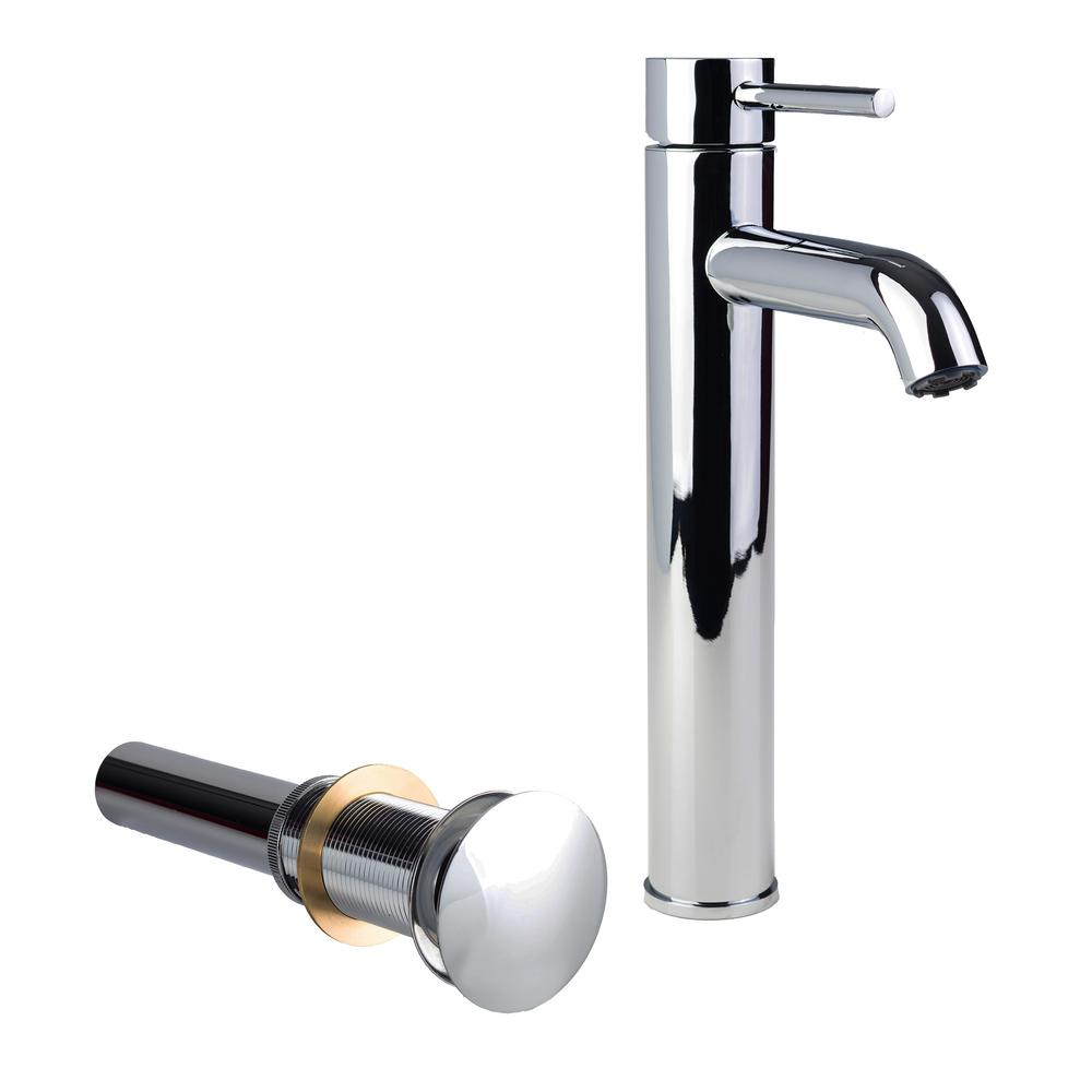Fontaine Single Hole Single-Handle High-Arc Vessel Bathroom Faucet with Drain in Chrome