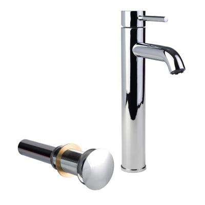 Single Hole Single-Handle High-Arc Vessel Bathroom Faucet with Drain in Chrome