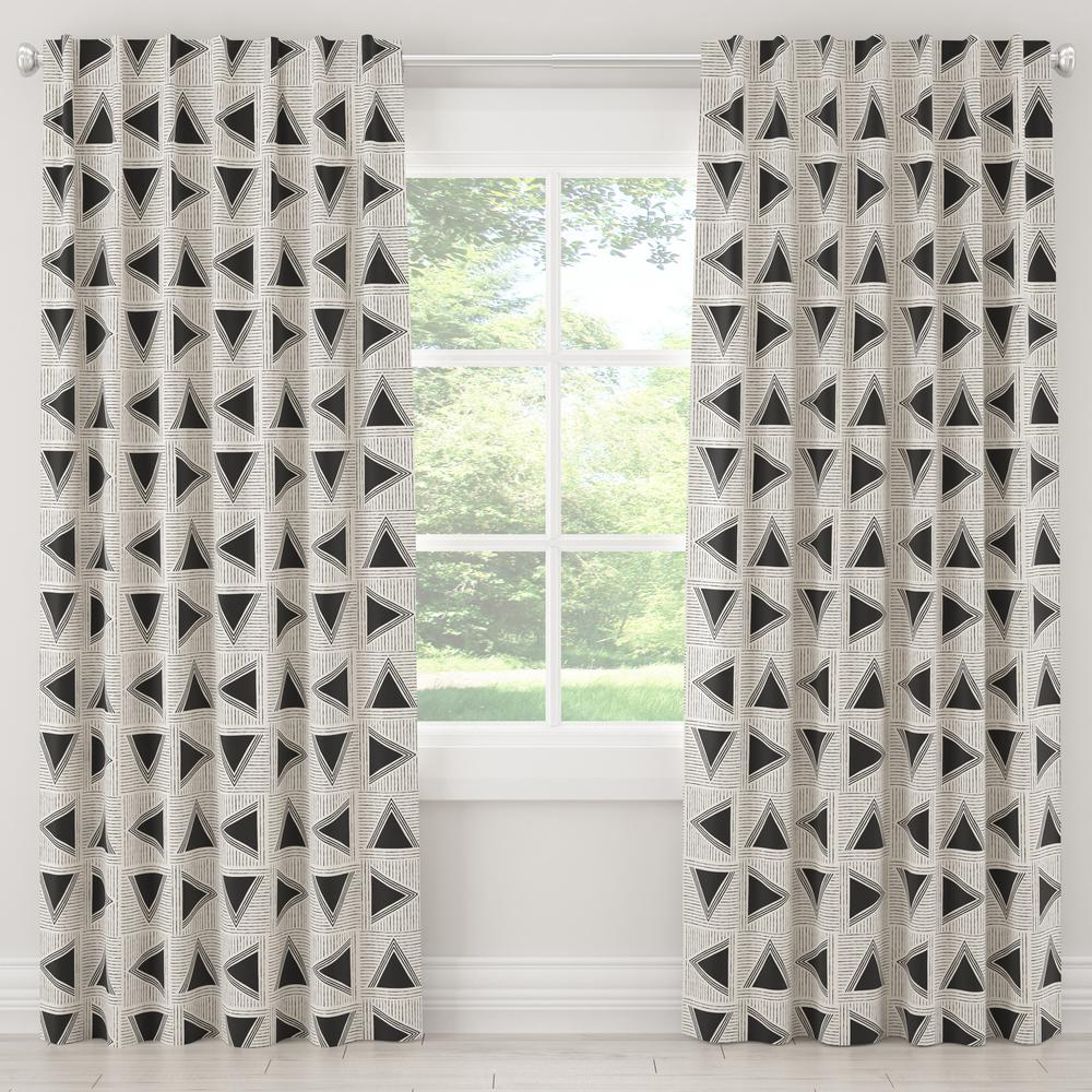 Skyline Furniture 50 in. W x 108 in. L Blackout Curtain in Triangle Tile Black White