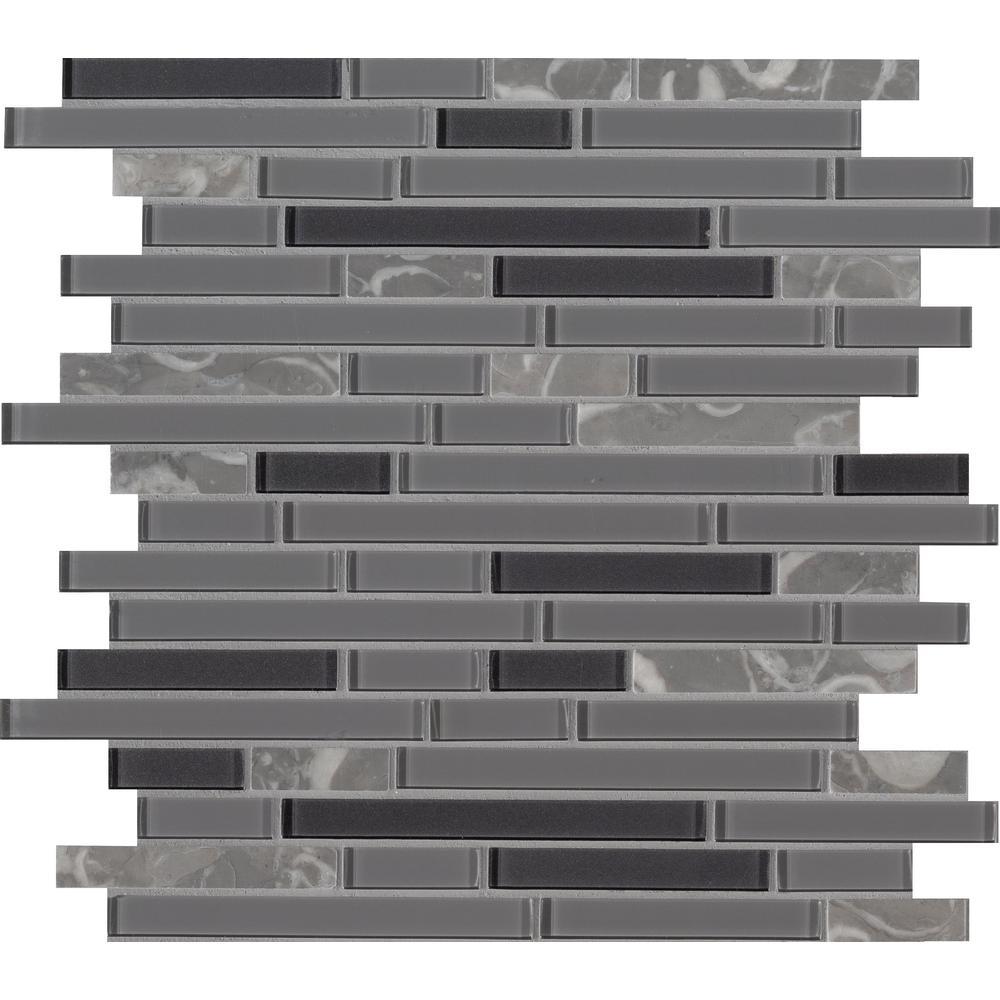 Lorena Grigio Interlocking 11.81 in. x 12 in. x 4mm Glass Stone Mesh-Mounted Mosaic Tile (19.6 sq. ft. / case)