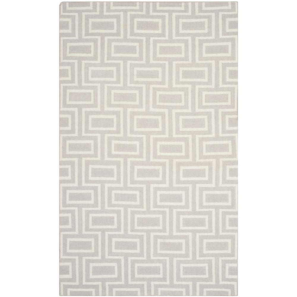 Dhurries Gray/Ivory 8 ft. x 10 ft. Area Rug