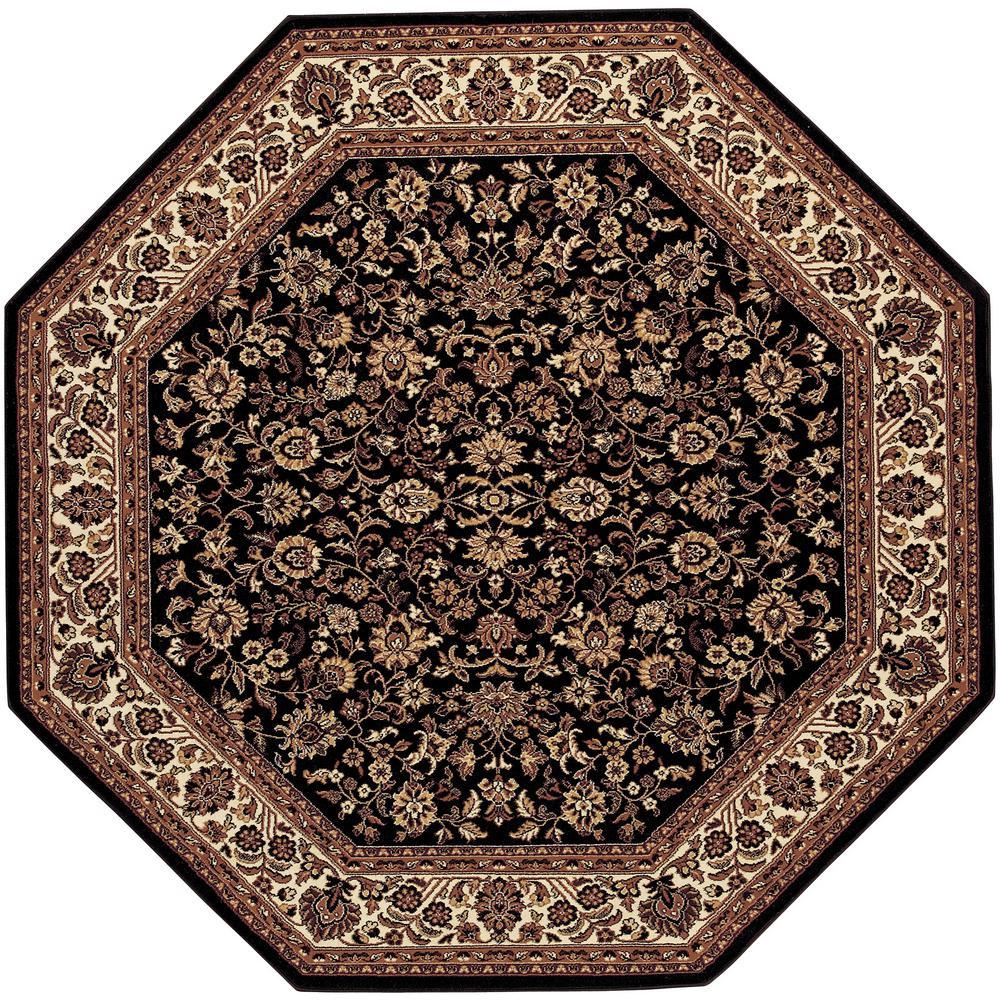 Everest Isfahan Black 8 ft. x 8 ft. Octagon Area Rug
