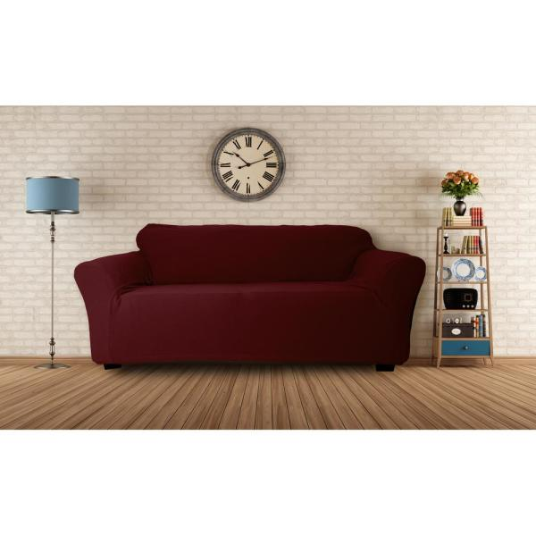 Hanover Water Resistant Merlot Fit Polyester Fit Sofa Slip Cover