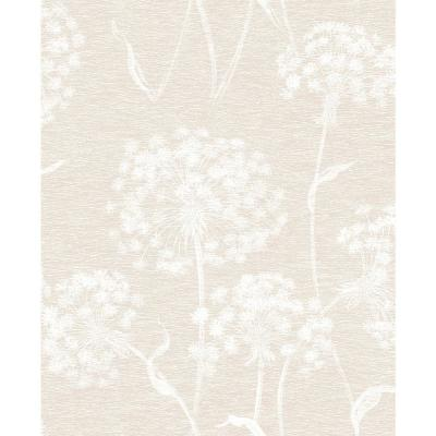 8 in. x 10 in. Carolyn Cream Dandelion Wallpaper Sample