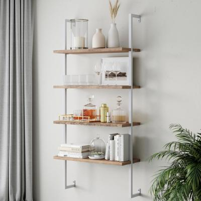 Theo Rustic Oak 64 in. 4-Shelf Wood Floating Wall Mount Shelves Bookcase and White Pipe Metal Frame