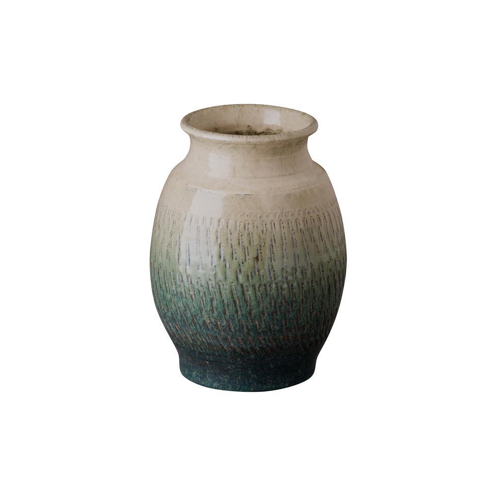 Short Shoulder Bayside Green Ceramic Vase