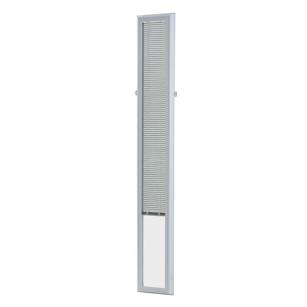 ODL 7 in. x 64 in. Add On Enclosed Aluminum Blinds in White for Steel Fiberglass Sidelites with Raised Frame Around Glass