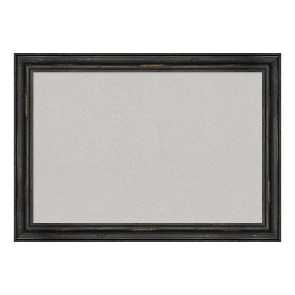 Rustic Pine Narrow Black Framed Grey Cork Memo Board