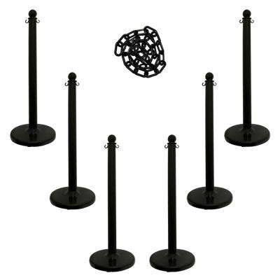 Medium Duty Stanchion and Chain Kit in Black