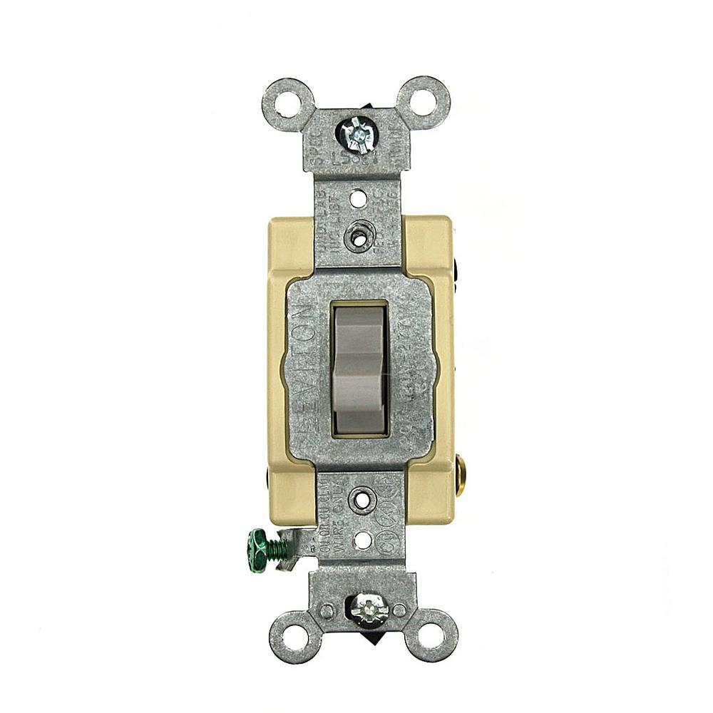 20 Amp Commercial Grade 4-Way Back Wired Toggle Switch, Gray