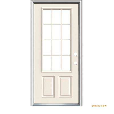 36 in. x 80 in. 12-Lite Primed Steel Prehung Left-Hand Inswing Prehung Front Door with Brickmould
