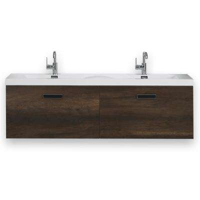 63 in. W x 18.2 in. H Bath Vanity in Brown with Resin Vanity Top in White with White Basin