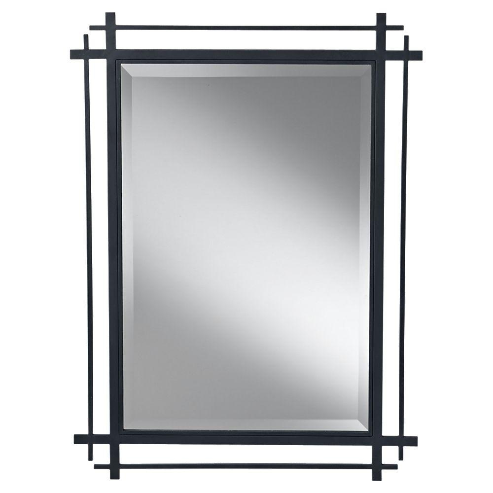 Feiss Feiss Ethan 27.1875 in. W x 37 in. H Rectangle Glass Wall Decor Mirror with Antique Black Forged Iron Frame and Beveled Edge