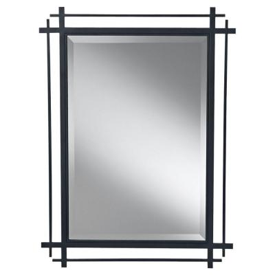 Ethan 27.1875 in. W x 37 in. H Rectangle Glass Wall Decor Mirror with Antique Black Forged Iron Frame and Beveled Edge