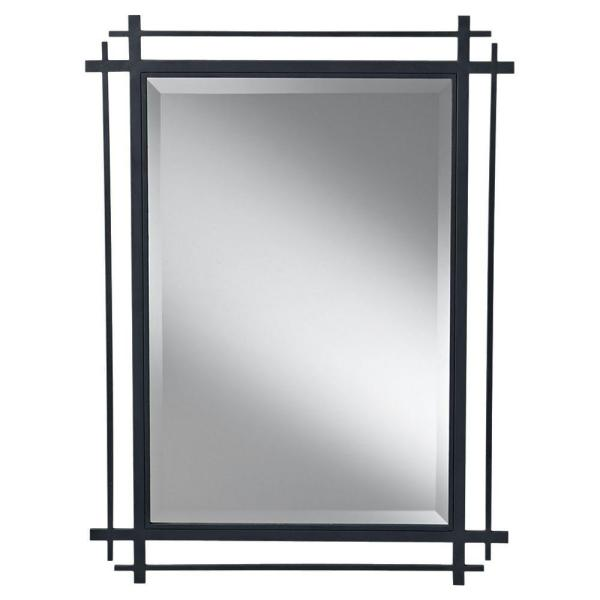 Medium Rectangle Antique Forged Iron Beveled Glass Art Deco Mirror (37 in. H x 27.1875 in. W)