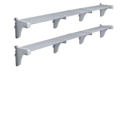 40 in. - 75 in. Expandable Garage Shelf in Silver (Set of 2)