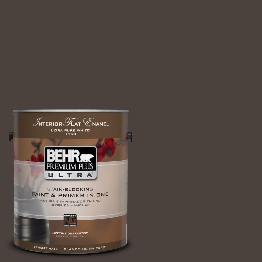 BEHR Premium Plus Ultra 1-Gal. #UL160-23 Espresso Beans Interior Flat Enamel Paint