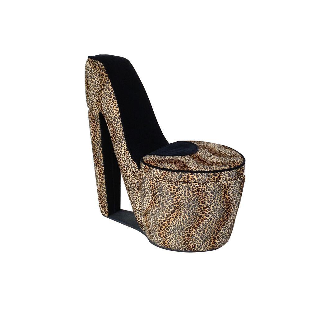 Black Cheetah Storage Slipper Chair
