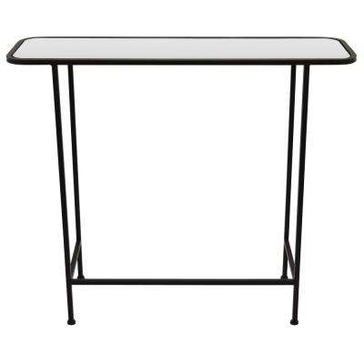 28.25 in. Black Metal Mirrored Table