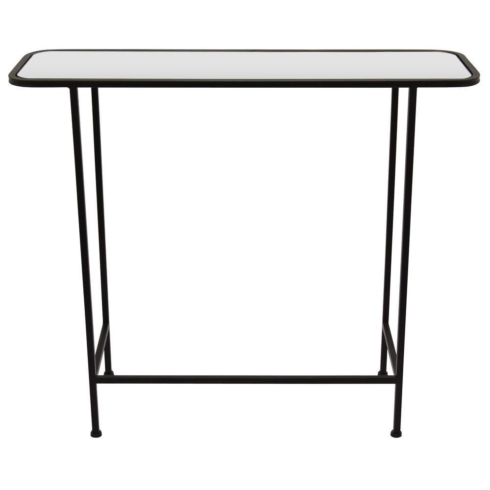 28 25 In Black Metal Mirrored Table