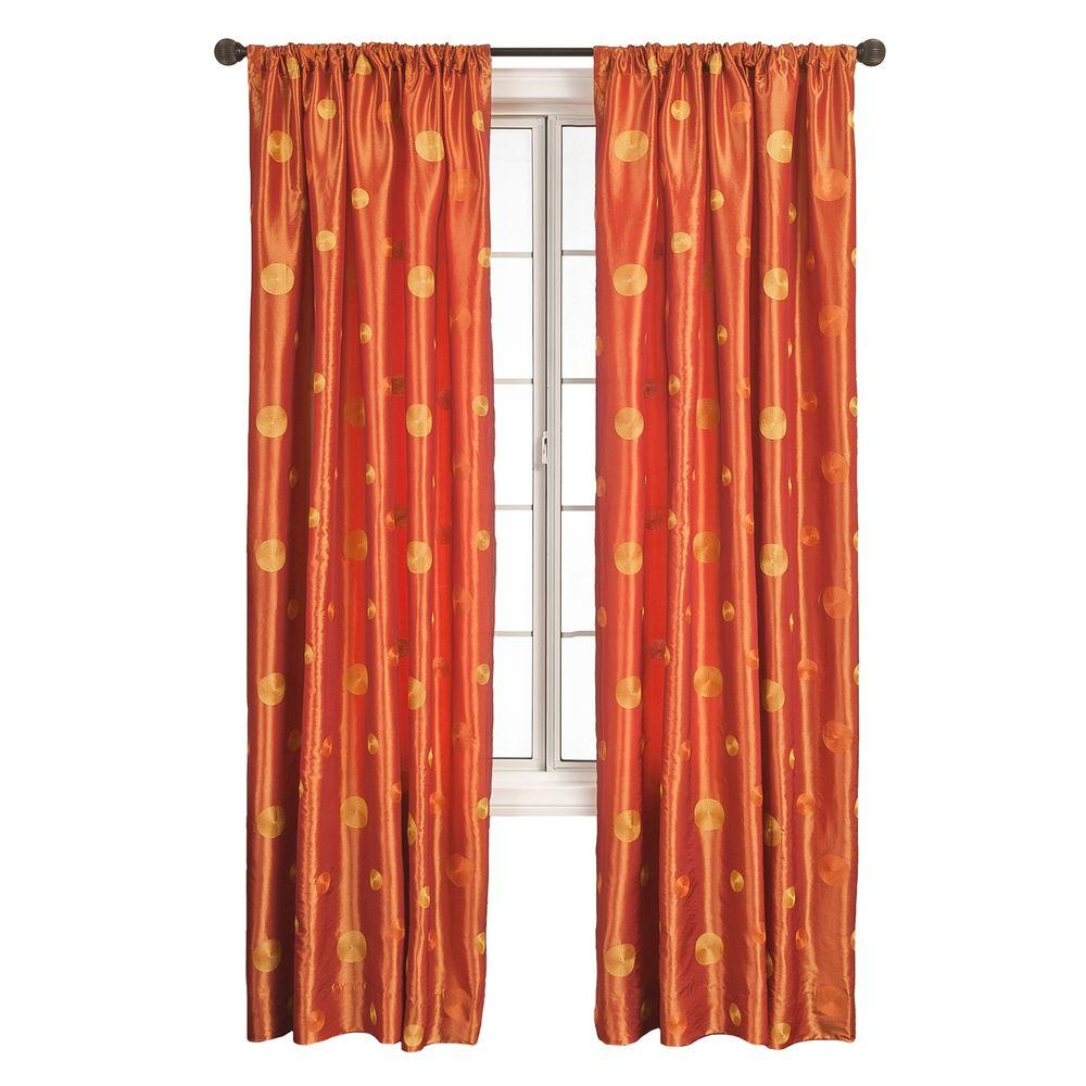 Home Decorators Collection Sheer Orange Cirque Rod Pocket Curtain - 55 in.W x 84 in. L